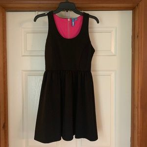 L'Amour Skater Style Dress Black and Hot Pink